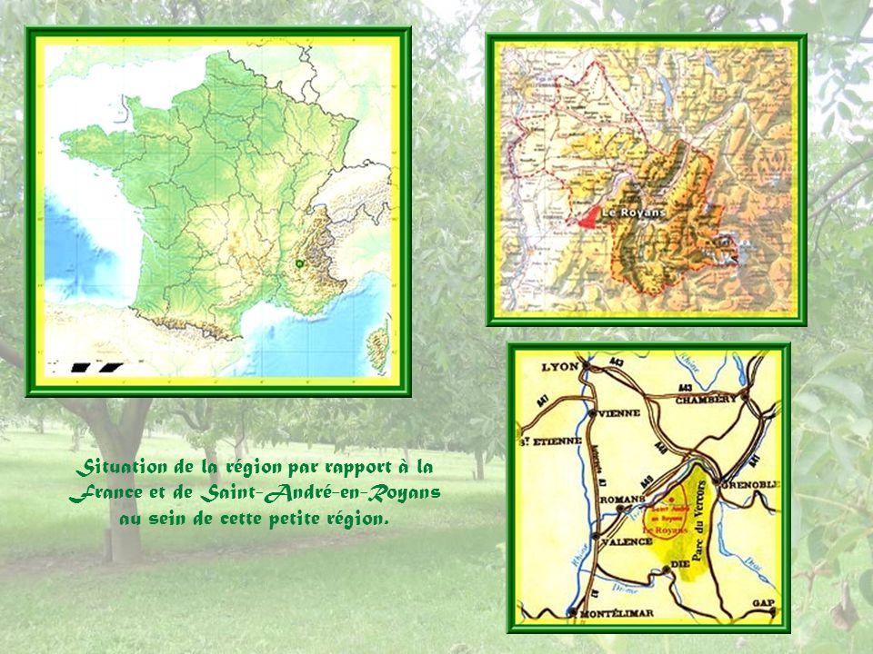 Situation de la région par rapport à la France et de Saint-André-en-Royans au sein de cette petite région.