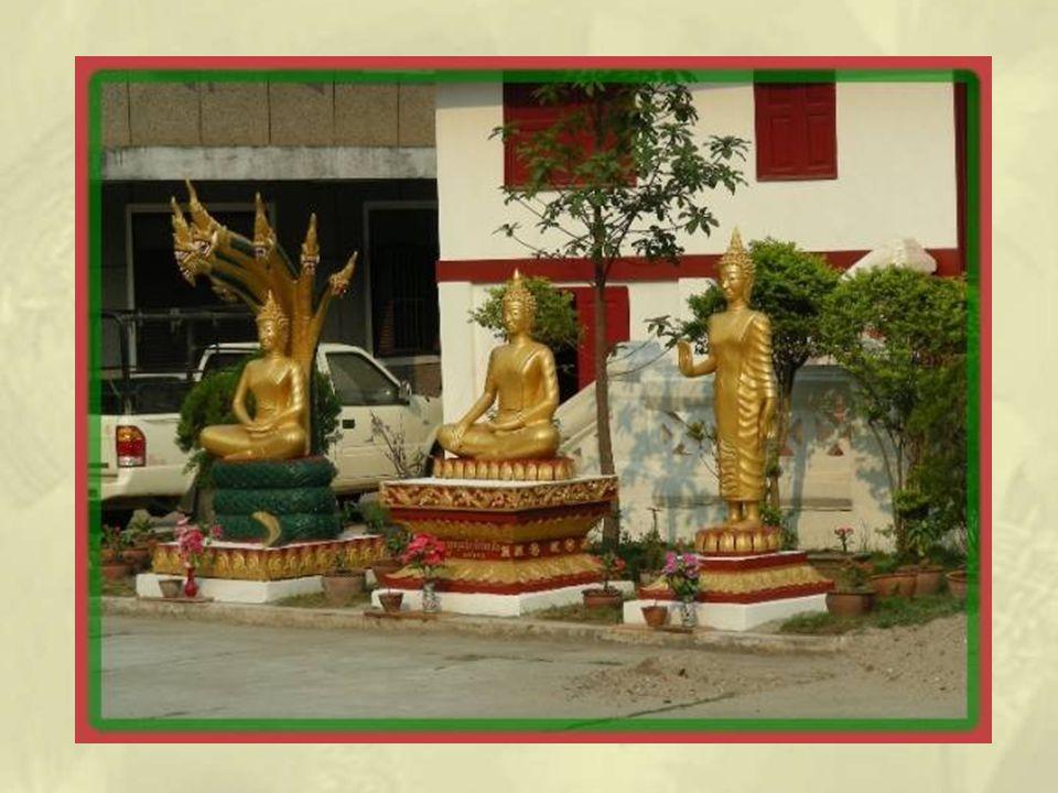 Dans la cour on retrouve des bouddhas dont les attitudes différentes illustrent chacun une signification particulière.