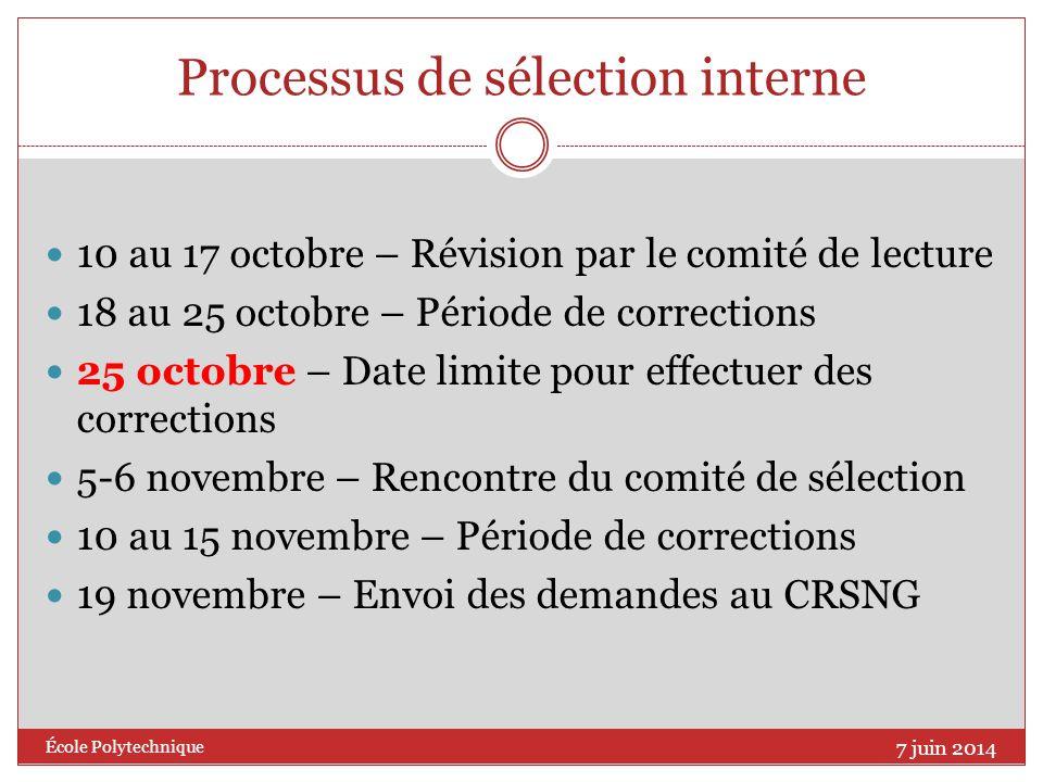 Processus de sélection interne 10 au 17 octobre – Révision par le comité de lecture 18 au 25 octobre – Période de corrections 25 octobre – Date limite