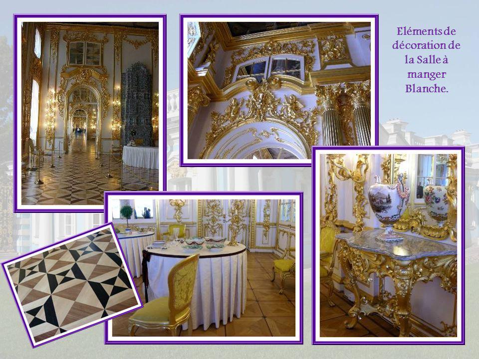 Et voici la Salle à manger blanche. Cétait une salle à manger dapparat. La table était décorée de guirlandes de fleurs; vaisselle et verrerie étaient