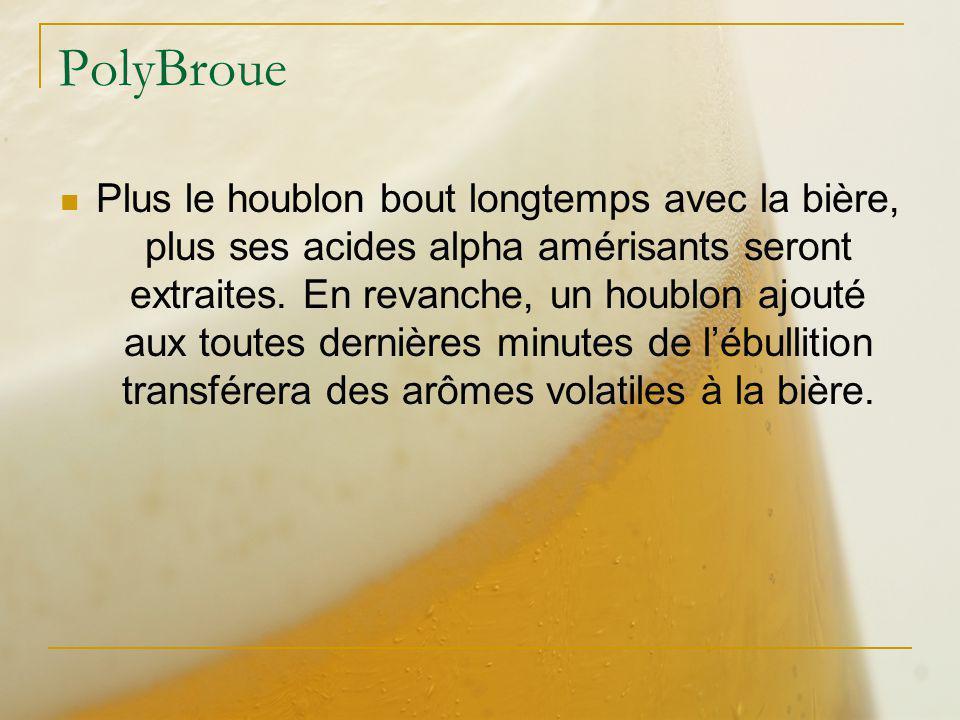 PolyBroue Plus le houblon bout longtemps avec la bière, plus ses acides alpha amérisants seront extraites. En revanche, un houblon ajouté aux toutes d