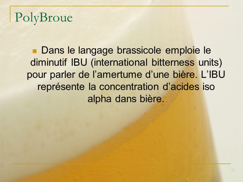 PolyBroue Dans le langage brassicole emploie le diminutif IBU (international bitterness units) pour parler de lamertume dune bière. LIBU représente la