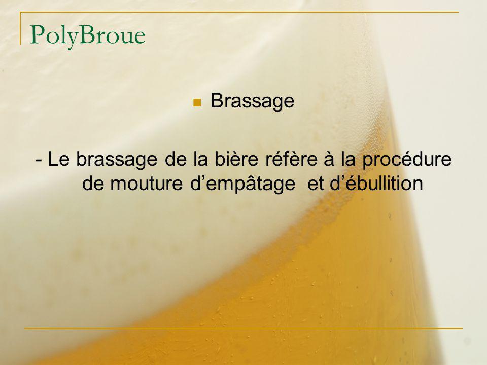 PolyBroue Brassage - Le brassage de la bière réfère à la procédure de mouture dempâtage et débullition