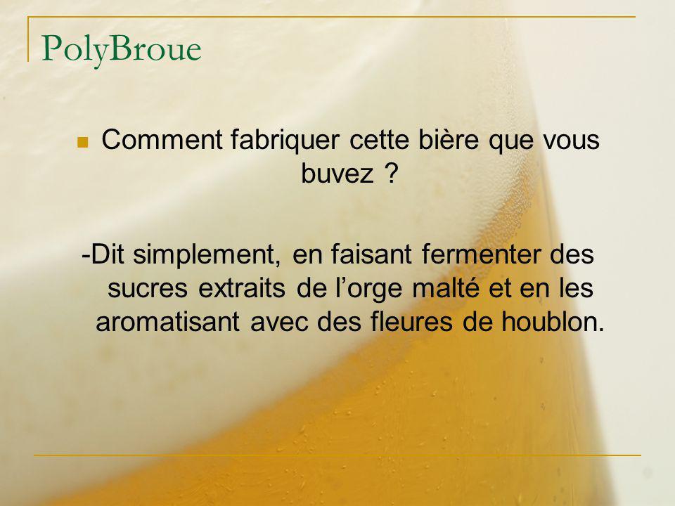 PolyBroue Comment fabriquer cette bière que vous buvez ? -Dit simplement, en faisant fermenter des sucres extraits de lorge malté et en les aromatisan