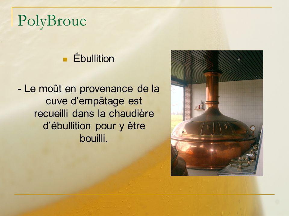 PolyBroue Ébullition - Le moût en provenance de la cuve dempâtage est recueilli dans la chaudière débullition pour y être bouilli.