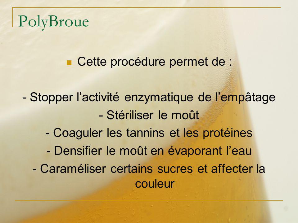 PolyBroue Cette procédure permet de : - Stopper lactivité enzymatique de lempâtage - Stériliser le moût - Coaguler les tannins et les protéines - Dens