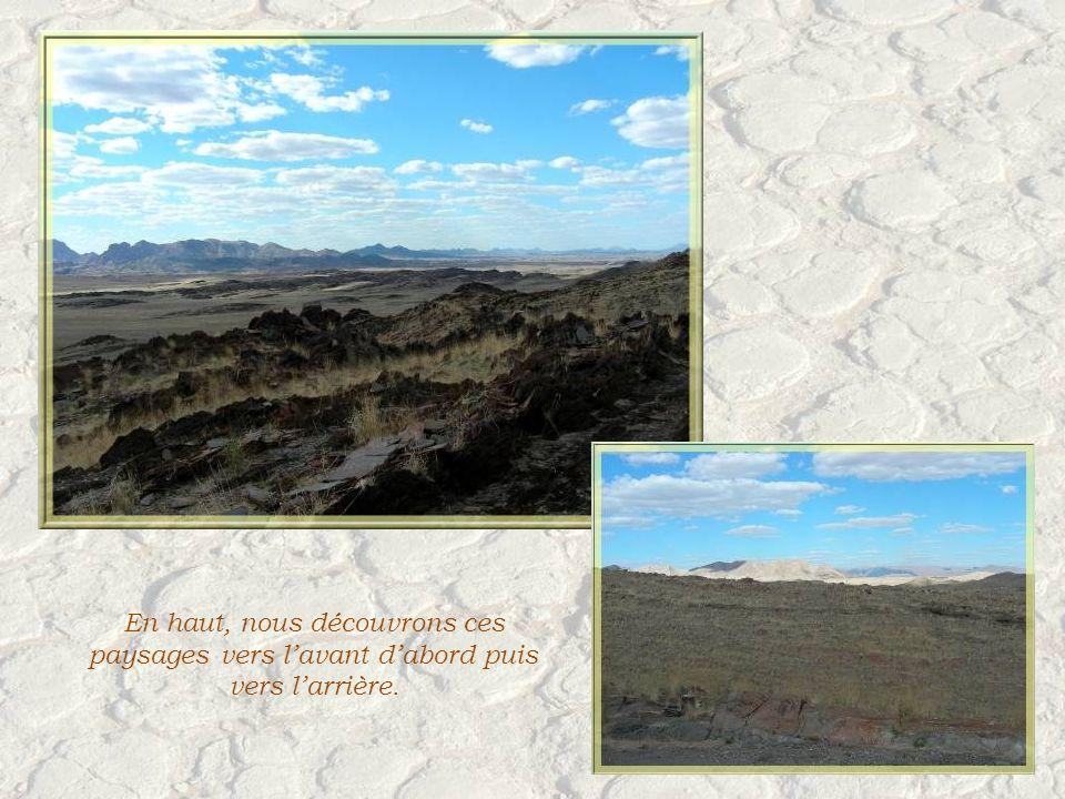 Après le déjeuner dans un camp blotti au pied de ces rochers, cest loccasion dune petite marche dans une roche schisteuse.