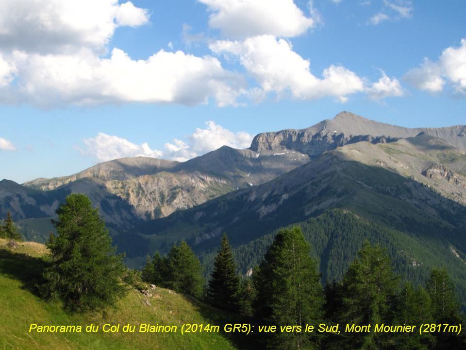Mercantour, panorama du Col du Blainon (2014m GR5): vue vers le Sud, Mont Mounier (2817m), plus haut sommet calcaire des Alpes du Sud