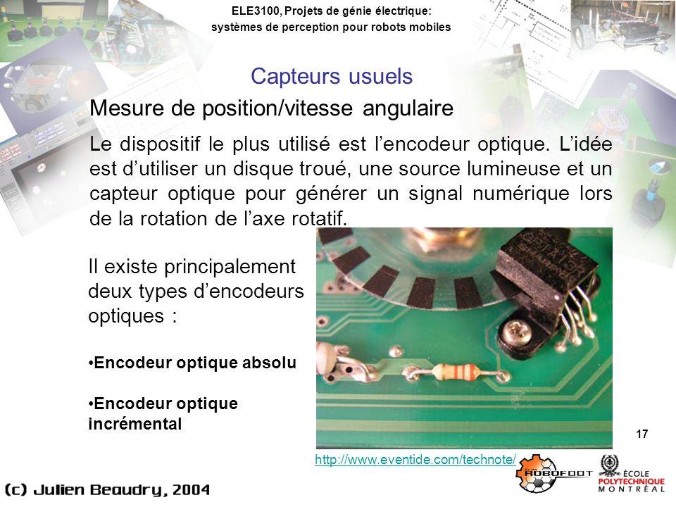 ELE3100, Projets de génie électrique: systèmes de perception pour robots mobiles 17 Mesure de position/vitesse angulaire Le dispositif le plus utilisé est lencodeur optique.