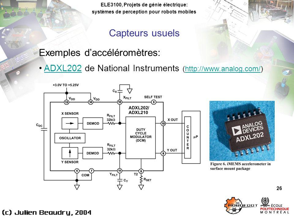 ELE3100, Projets de génie électrique: systèmes de perception pour robots mobiles 26 Exemples daccéléromètres: ADXL202 de National Instruments (http://www.analog.com/)ADXL202http://www.analog.com/ Capteurs usuels