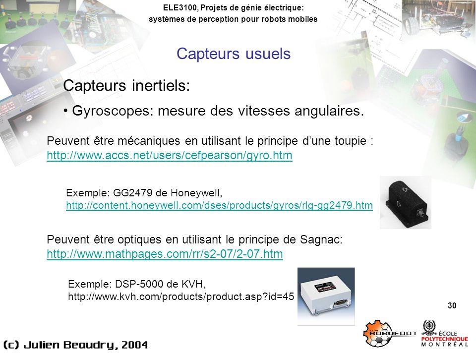 ELE3100, Projets de génie électrique: systèmes de perception pour robots mobiles 30 Capteurs inertiels: Gyroscopes: mesure des vitesses angulaires.
