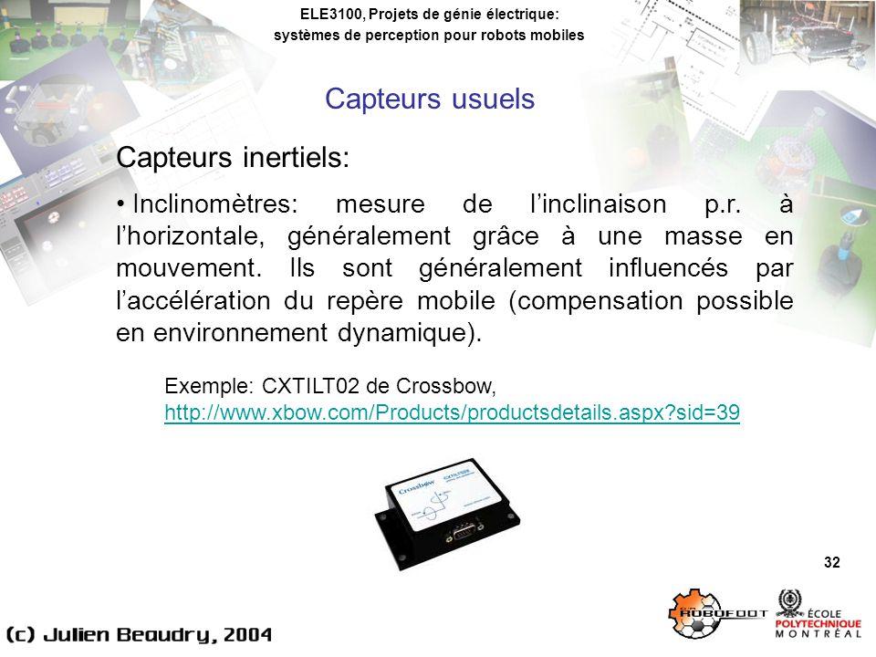 ELE3100, Projets de génie électrique: systèmes de perception pour robots mobiles 32 Capteurs inertiels: Inclinomètres: mesure de linclinaison p.r.