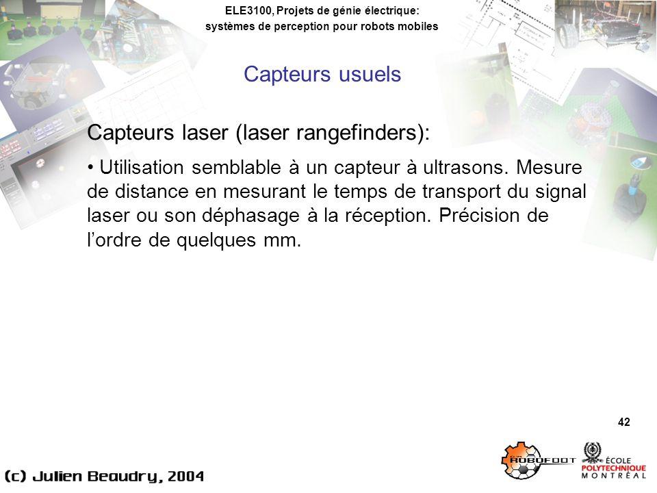 ELE3100, Projets de génie électrique: systèmes de perception pour robots mobiles 42 Capteurs laser (laser rangefinders): Utilisation semblable à un capteur à ultrasons.