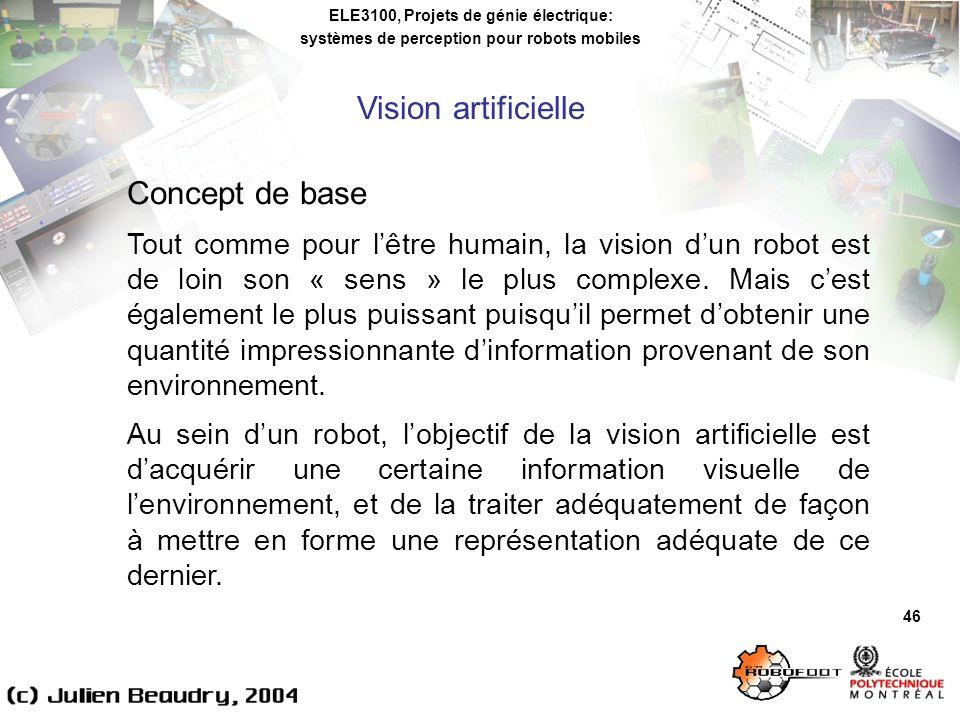 ELE3100, Projets de génie électrique: systèmes de perception pour robots mobiles Vision artificielle 46 Concept de base Tout comme pour lêtre humain, la vision dun robot est de loin son « sens » le plus complexe.