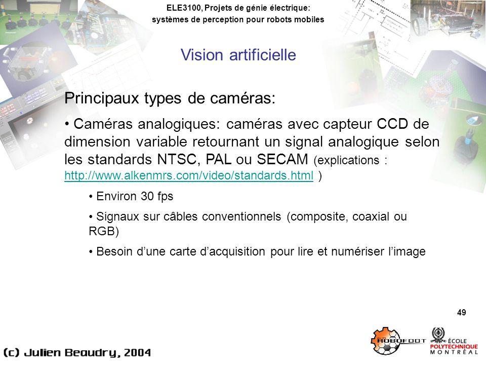 ELE3100, Projets de génie électrique: systèmes de perception pour robots mobiles Vision artificielle 49 Principaux types de caméras: Caméras analogiques: caméras avec capteur CCD de dimension variable retournant un signal analogique selon les standards NTSC, PAL ou SECAM (explications : http://www.alkenmrs.com/video/standards.html ) http://www.alkenmrs.com/video/standards.html Environ 30 fps Signaux sur câbles conventionnels (composite, coaxial ou RGB) Besoin dune carte dacquisition pour lire et numériser limage