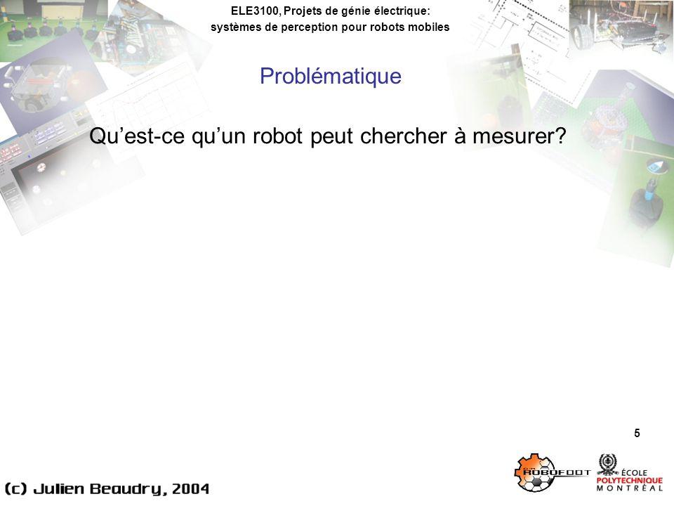 ELE3100, Projets de génie électrique: systèmes de perception pour robots mobiles Problématique 5 Quest-ce quun robot peut chercher à mesurer?