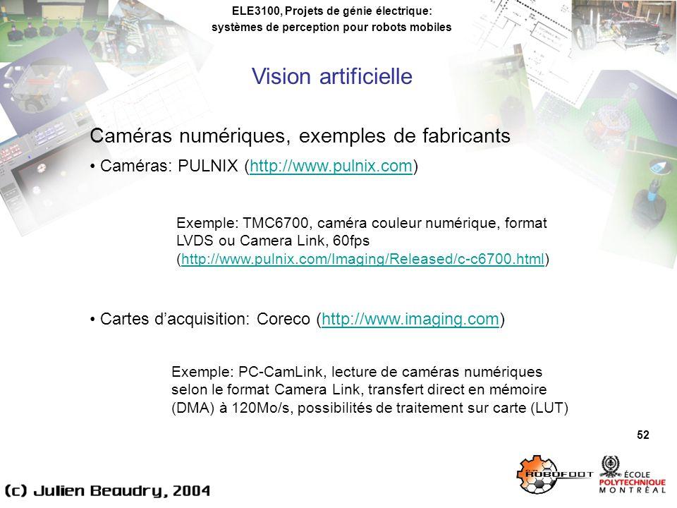 ELE3100, Projets de génie électrique: systèmes de perception pour robots mobiles Vision artificielle 52 Caméras numériques, exemples de fabricants Caméras: PULNIX (http://www.pulnix.com)http://www.pulnix.com Cartes dacquisition: Coreco (http://www.imaging.com)http://www.imaging.com Exemple: TMC6700, caméra couleur numérique, format LVDS ou Camera Link, 60fps (http://www.pulnix.com/Imaging/Released/c-c6700.html)http://www.pulnix.com/Imaging/Released/c-c6700.html Exemple: PC-CamLink, lecture de caméras numériques selon le format Camera Link, transfert direct en mémoire (DMA) à 120Mo/s, possibilités de traitement sur carte (LUT)