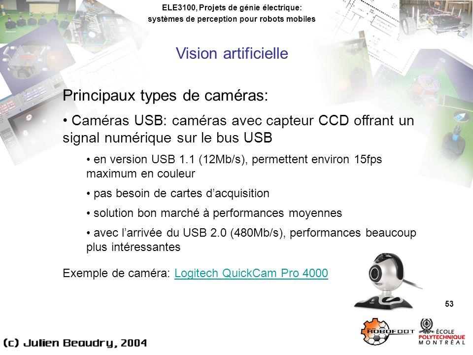 ELE3100, Projets de génie électrique: systèmes de perception pour robots mobiles Vision artificielle 53 Principaux types de caméras: Caméras USB: caméras avec capteur CCD offrant un signal numérique sur le bus USB en version USB 1.1 (12Mb/s), permettent environ 15fps maximum en couleur pas besoin de cartes dacquisition solution bon marché à performances moyennes avec larrivée du USB 2.0 (480Mb/s), performances beaucoup plus intéressantes Exemple de caméra: Logitech QuickCam Pro 4000Logitech QuickCam Pro 4000