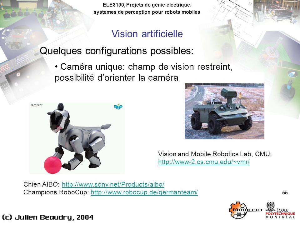 ELE3100, Projets de génie électrique: systèmes de perception pour robots mobiles Vision artificielle 55 Quelques configurations possibles: Caméra unique: champ de vision restreint, possibilité dorienter la caméra Chien AIBO: http://www.sony.net/Products/aibo/http://www.sony.net/Products/aibo/ Champions RoboCup: http://www.robocup.de/germanteam/http://www.robocup.de/germanteam/ Vision and Mobile Robotics Lab, CMU: http://www-2.cs.cmu.edu/~vmr/