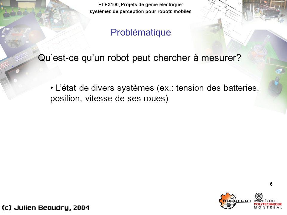 ELE3100, Projets de génie électrique: systèmes de perception pour robots mobiles Problématique 6 Quest-ce quun robot peut chercher à mesurer.