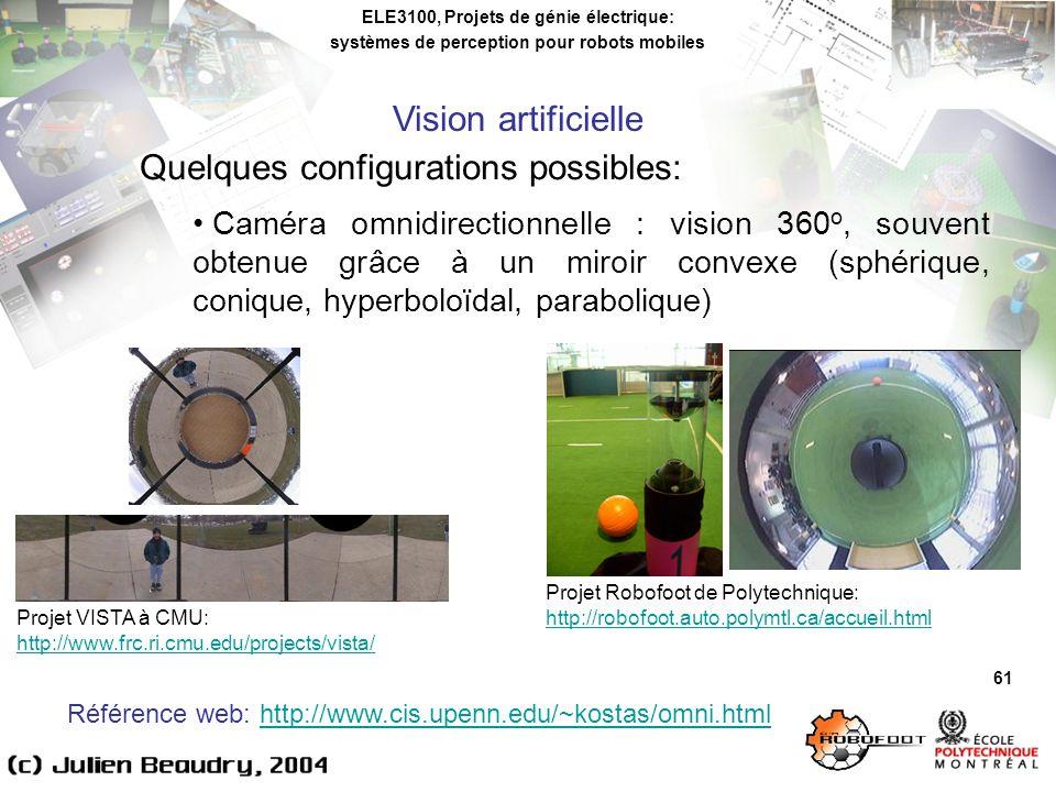 ELE3100, Projets de génie électrique: systèmes de perception pour robots mobiles Vision artificielle 61 Quelques configurations possibles: Caméra omnidirectionnelle : vision 360 o, souvent obtenue grâce à un miroir convexe (sphérique, conique, hyperboloïdal, parabolique) Projet VISTA à CMU: http://www.frc.ri.cmu.edu/projects/vista/ Projet Robofoot de Polytechnique: http://robofoot.auto.polymtl.ca/accueil.html Référence web: http://www.cis.upenn.edu/~kostas/omni.htmlhttp://www.cis.upenn.edu/~kostas/omni.html