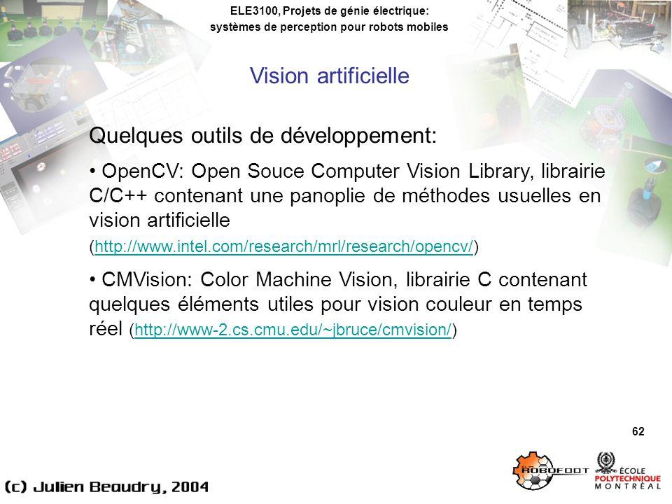 ELE3100, Projets de génie électrique: systèmes de perception pour robots mobiles Vision artificielle 62 Quelques outils de développement: OpenCV: Open Souce Computer Vision Library, librairie C/C++ contenant une panoplie de méthodes usuelles en vision artificielle (http://www.intel.com/research/mrl/research/opencv/)http://www.intel.com/research/mrl/research/opencv/ CMVision: Color Machine Vision, librairie C contenant quelques éléments utiles pour vision couleur en temps réel (http://www-2.cs.cmu.edu/~jbruce/cmvision/)http://www-2.cs.cmu.edu/~jbruce/cmvision/