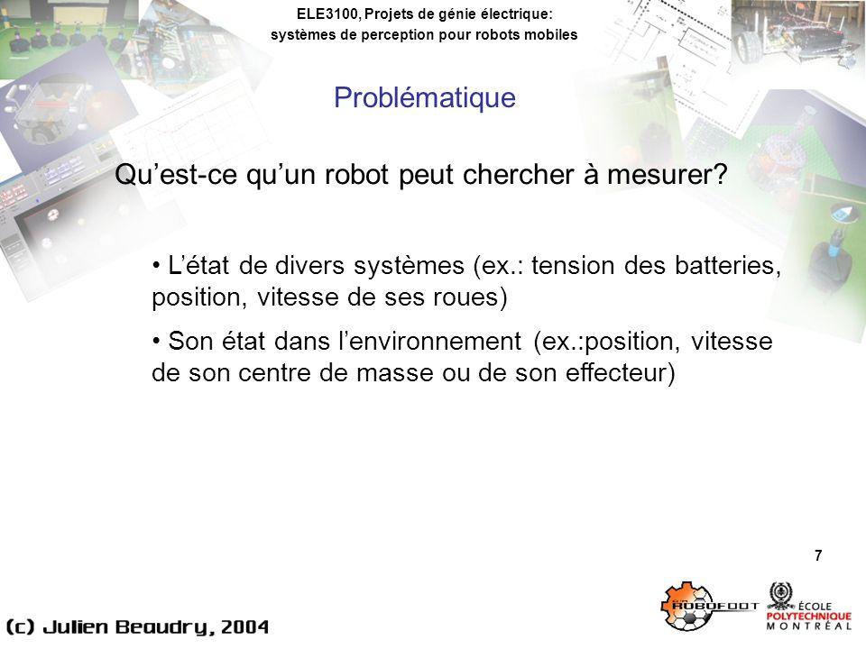 ELE3100, Projets de génie électrique: systèmes de perception pour robots mobiles Problématique 7 Quest-ce quun robot peut chercher à mesurer.