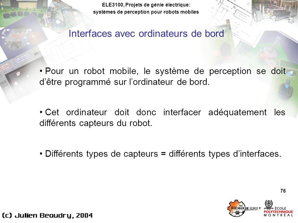 ELE3100, Projets de génie électrique: systèmes de perception pour robots mobiles Interfaces avec ordinateurs de bord 76 Pour un robot mobile, le système de perception se doit dêtre programmé sur lordinateur de bord.