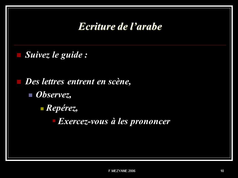 F.MEZYANE.200610 Ecriture de larabe Suivez le guide : Des lettres entrent en scène, Observez, Repérez, Exercez-vous à les prononcer