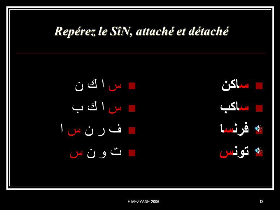F.MEZYANE.200613 Repérez le SîN, attaché et détaché س ا ك ن س ا ك ب ف ر ن س ا ت و ن س ساكن ساكب فرنسا تونس