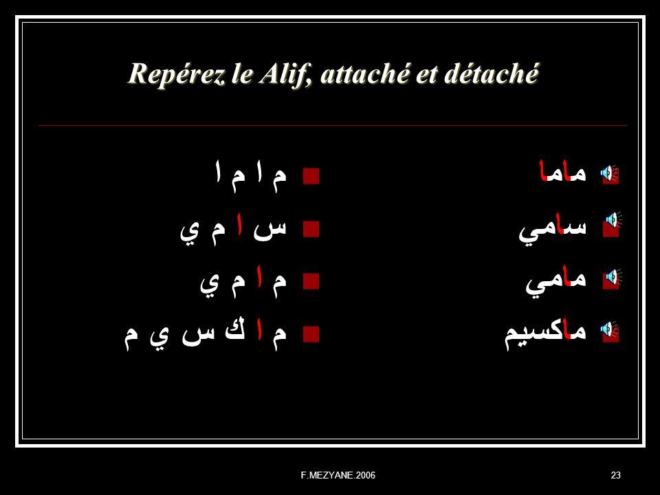 F.MEZYANE.200623 Repérez le Alif, attaché et détaché م ا م ا س ا م ي م ا م ي م ا ك س ي م ماما سامي مامي ماكسيم