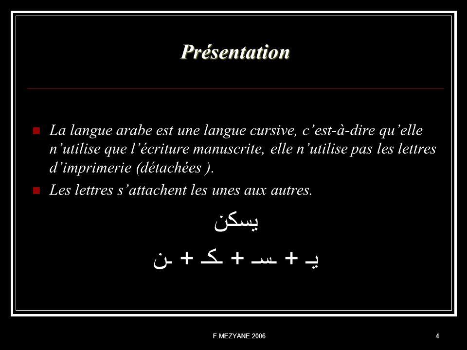 F.MEZYANE.20064 Présentation La langue arabe est une langue cursive, cest-à-dire quelle nutilise que lécriture manuscrite, elle nutilise pas les lettr