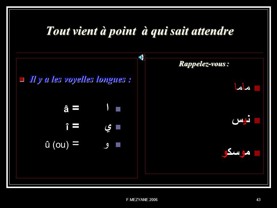 F.MEZYANE.200643 Tout vient à point à qui sait attendre Il y a les voyelles longues : Il y a les voyelles longues : ا = â ي= î و= û (ou) Rappelez-vous