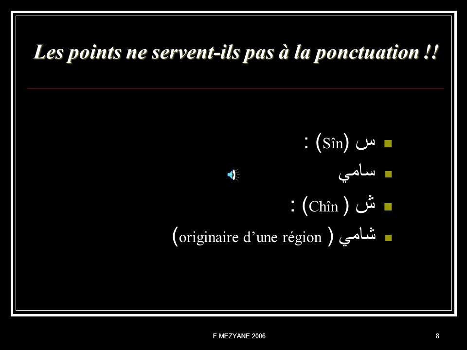 F.MEZYANE.20068 Les points ne servent-ils pas à la ponctuation !! س ( Sîn ) : سامي ش ( Chîn ) : شامي ( originaire dune région )