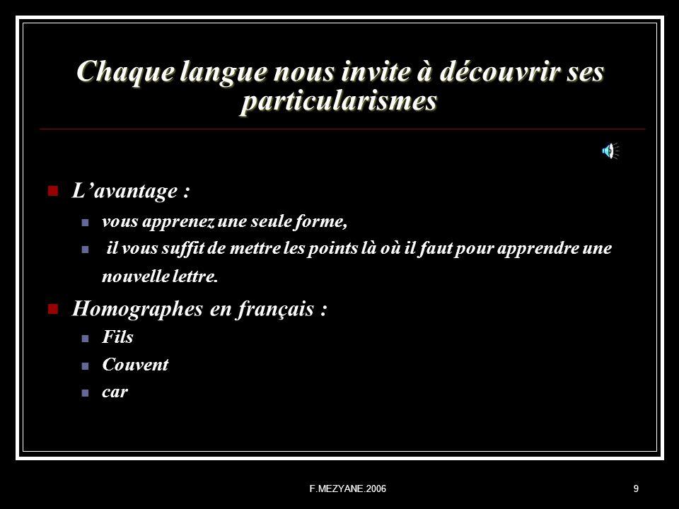 F.MEZYANE.20069 Chaque langue nous invite à découvrir ses particularismes Lavantage : vous apprenez une seule forme, il vous suffit de mettre les poin