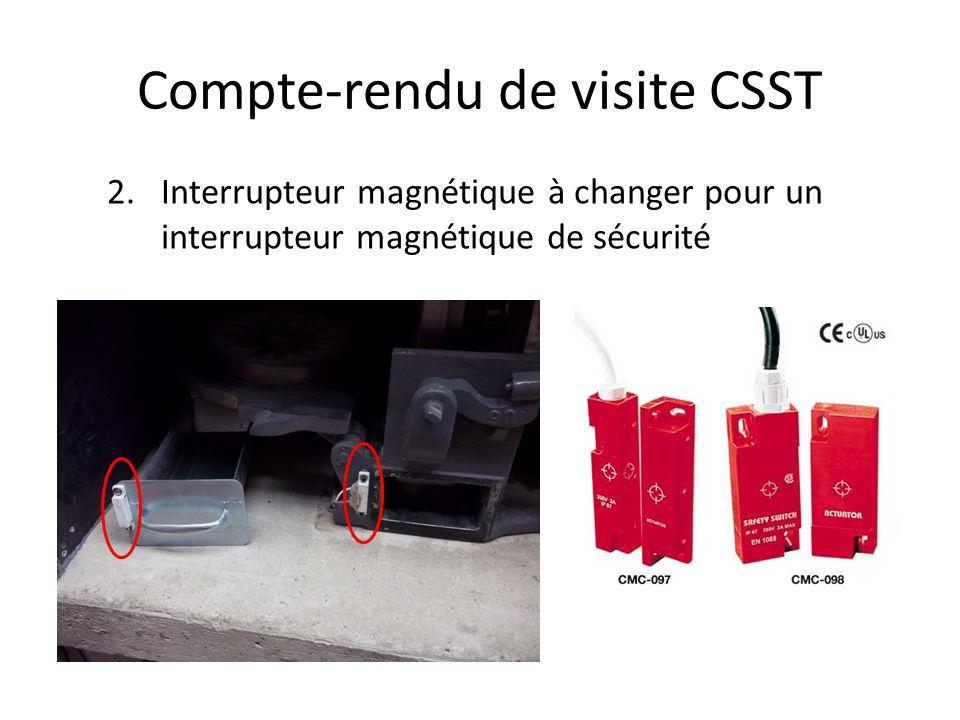 Compte-rendu de visite CSST 2.Interrupteur magnétique à changer pour un interrupteur magnétique de sécurité