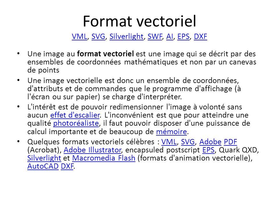 Format vectoriel VML, SVG, Silverlight, SWF, AI, EPS, DXF VMLSVGSilverlightSWFAIEPSDXF Une image au format vectoriel est une image qui se décrit par des ensembles de coordonnées mathématiques et non par un canevas de points Une image vectorielle est donc un ensemble de coordonnées, d attributs et de commandes que le programme d affichage (à l écran ou sur papier) se charge d interpréter.