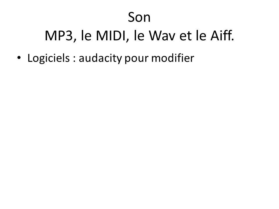 Son MP3, le MIDI, le Wav et le Aiff. Logiciels : audacity pour modifier