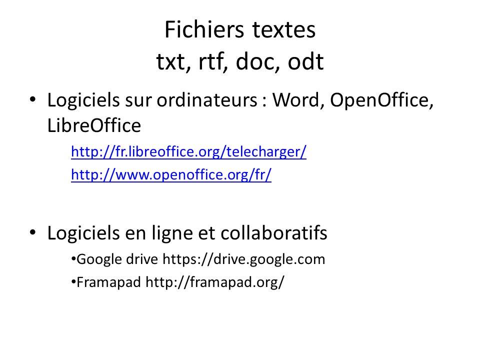 Fichiers textes txt, rtf, doc, odt Logiciels sur ordinateurs : Word, OpenOffice, LibreOffice http://fr.libreoffice.org/telecharger/ http://www.openoffice.org/fr/ Logiciels en ligne et collaboratifs Google drive https://drive.google.com Framapad http://framapad.org/
