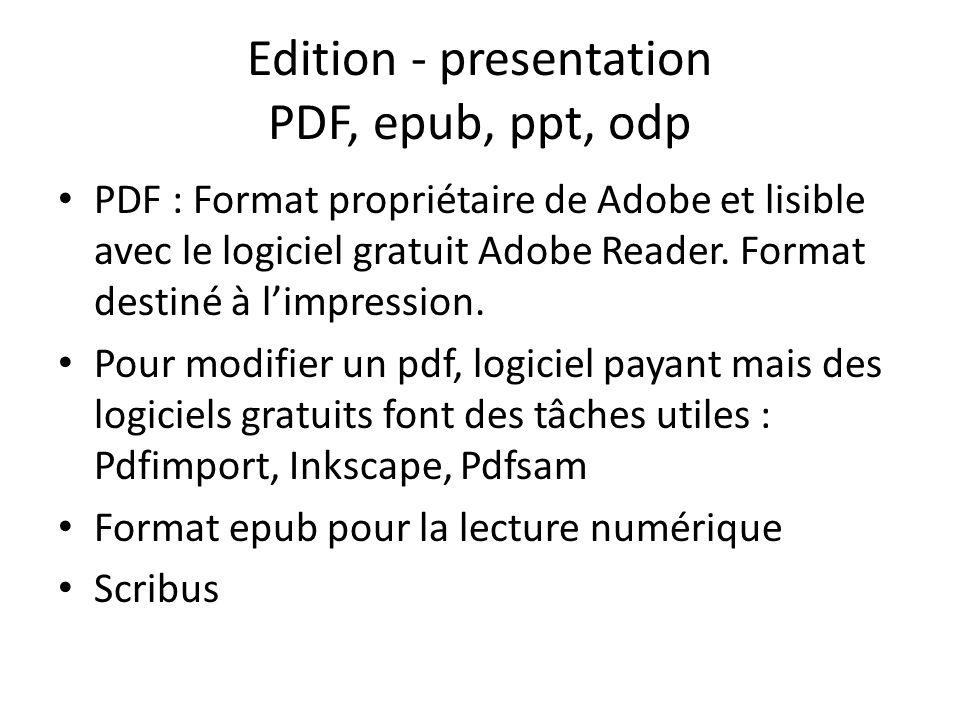 Edition - presentation PDF, epub, ppt, odp PDF : Format propriétaire de Adobe et lisible avec le logiciel gratuit Adobe Reader.