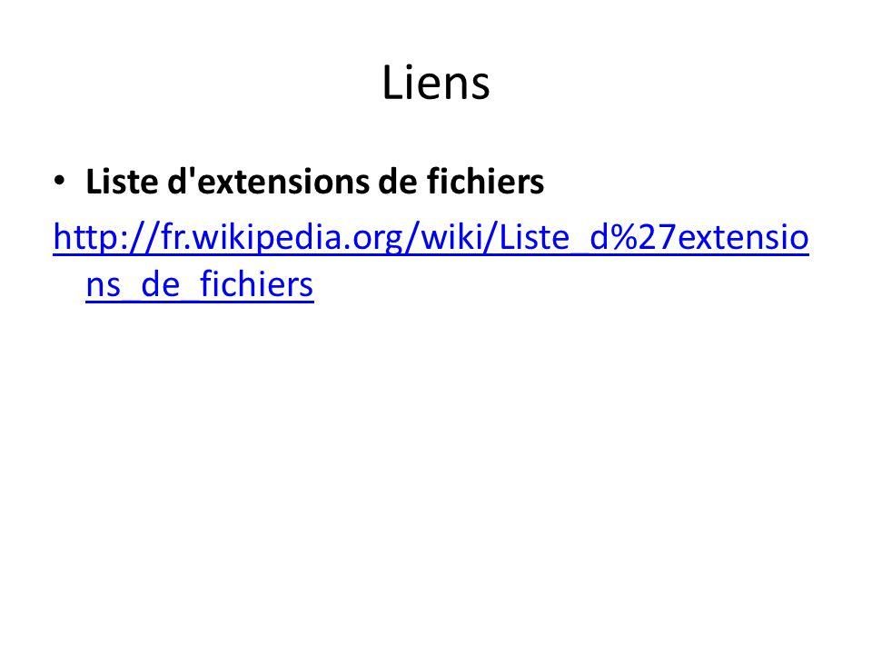 Liens Liste d extensions de fichiers http://fr.wikipedia.org/wiki/Liste_d%27extensio ns_de_fichiers