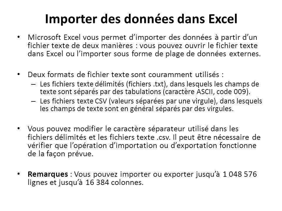 Importer des données dans Excel Microsoft Excel vous permet dimporter des données à partir dun fichier texte de deux manières : vous pouvez ouvrir le fichier texte dans Excel ou limporter sous forme de plage de données externes.