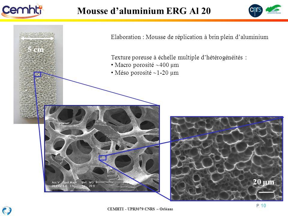 CEMHTI - UPR3079 CNRS – Orléans P. 10 Mousse daluminium ERG Al 20 Elaboration : Mousse de réplication à brin plein daluminium Texture poreuse à échell