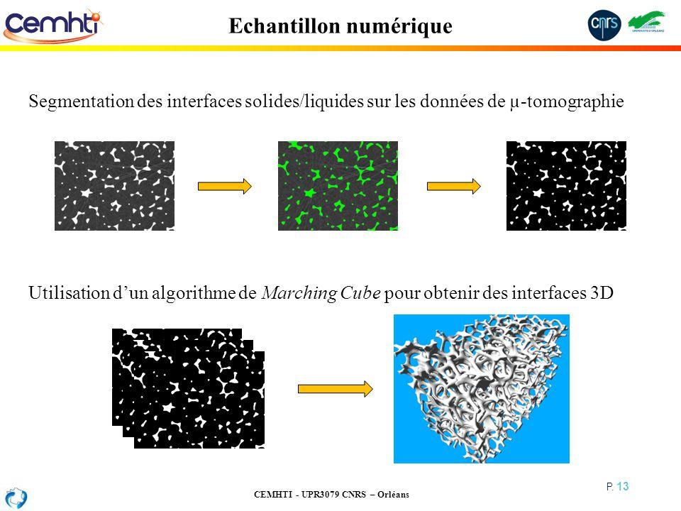 CEMHTI - UPR3079 CNRS – Orléans P. 13 Echantillon numérique Utilisation dun algorithme de Marching Cube pour obtenir des interfaces 3D Segmentation de