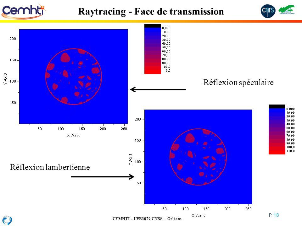 CEMHTI - UPR3079 CNRS – Orléans P. 18 Raytracing - Face de transmission Réflexion spéculaire Réflexion lambertienne