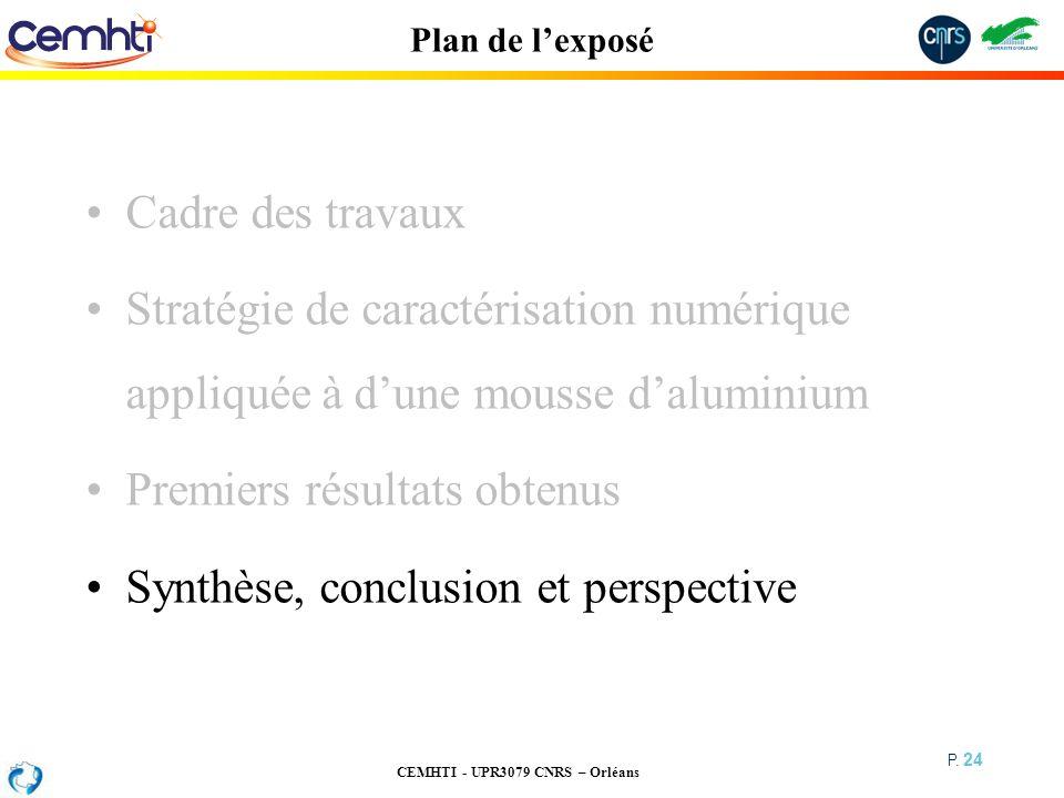 CEMHTI - UPR3079 CNRS – Orléans P. 24 Plan de lexposé Cadre des travaux Stratégie de caractérisation numérique appliquée à dune mousse daluminium Prem
