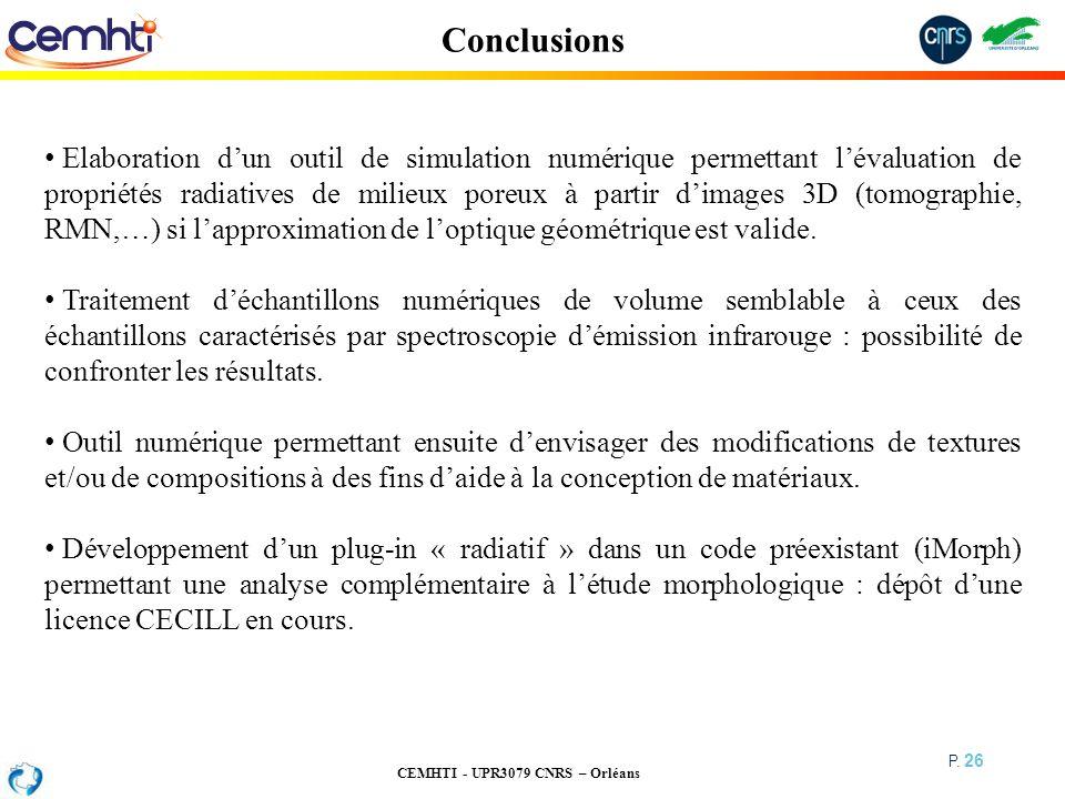 CEMHTI - UPR3079 CNRS – Orléans P. 26 Conclusions Elaboration dun outil de simulation numérique permettant lévaluation de propriétés radiatives de mil