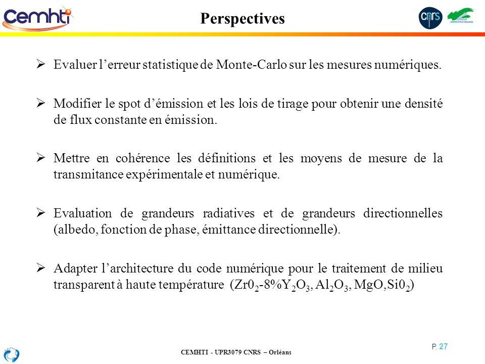 CEMHTI - UPR3079 CNRS – Orléans P. 27 Perspectives Evaluer lerreur statistique de Monte-Carlo sur les mesures numériques. Modifier le spot démission e