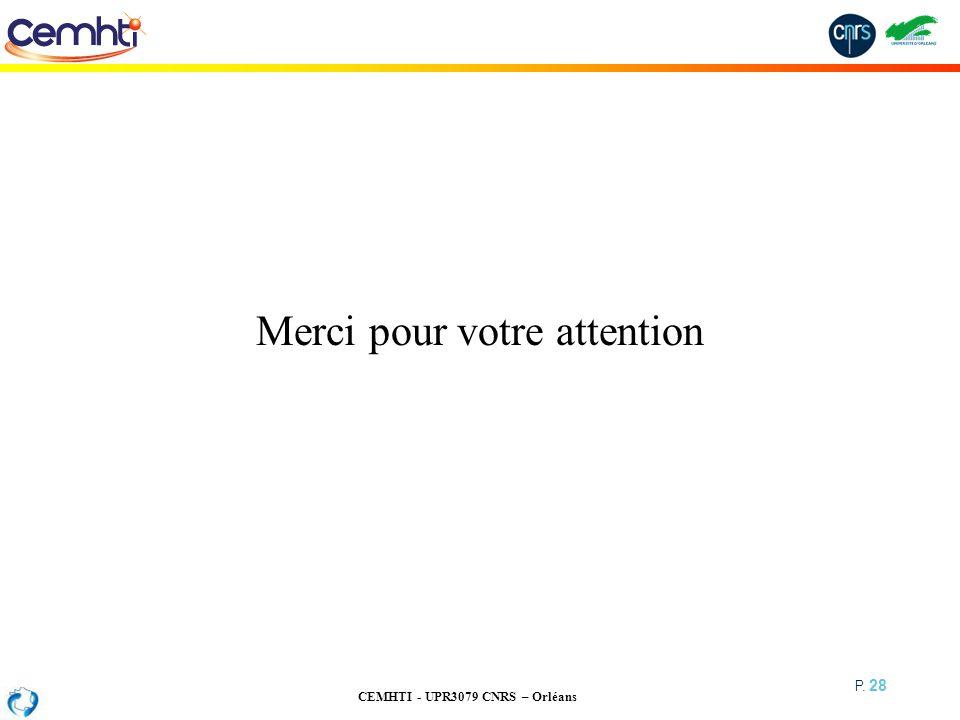 CEMHTI - UPR3079 CNRS – Orléans P. 28 Merci pour votre attention