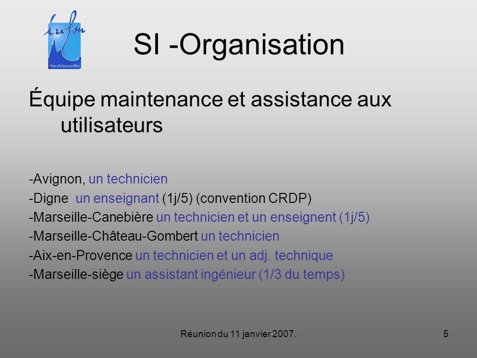 Réunion du 11 janvier 2007.5 SI -Organisation Équipe maintenance et assistance aux utilisateurs -Avignon, un technicien -Digne un enseignant (1j/5) (convention CRDP) -Marseille-Canebière un technicien et un enseignent (1j/5) -Marseille-Château-Gombert un technicien -Aix-en-Provence un technicien et un adj.